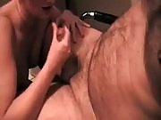 Horny brunette blows a hairy dude's cock with her viciously skilled mouth