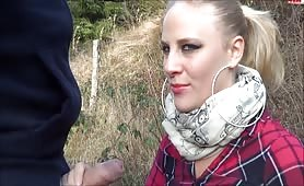 Pervy Lara's Outdoor Mouth Job Time
