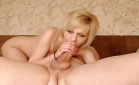 Blonde Eats Jizz Off Her Lips and Chin