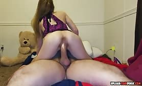 Promiscuous Teen Rides a Stick With a Babydoll on