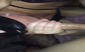 My slut wife gagging on cock