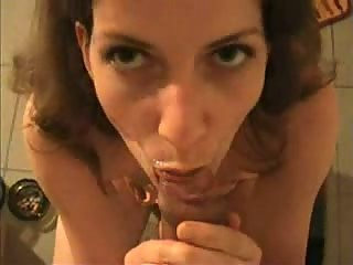 Brunette wife cleaning my cock at morning