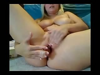 Blonde with huge tits making money on webcam