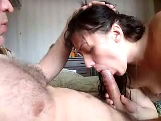 Brunette wife giving blowjob and rides