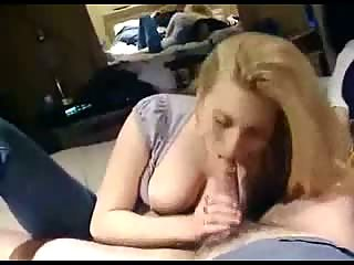 Blonde milf with long hairs sucking