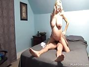 Pregnant German blond wife fucks and creampie