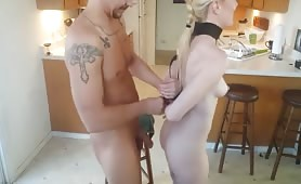 Restrained Blonde Kneels to Give Cone