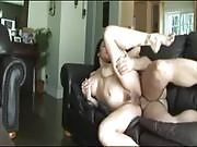 Horny brunette MILF with bouncing tits sucks cock and gets jizz on her face