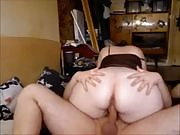 Brunette bbw rides and sits on boyfriend's cock