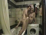 Good fuck on a washing machine with a horny couple in the bathroom