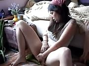 Horny hippie masturbates her hairry pussy and fingers herself on cam, showing her tit while moaning