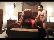 Two ripped men share a naughty kinky slut in the bedroom, doing as they please with her