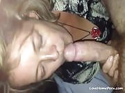 Dirty wasted blonde whore filmed while sucking man's hard cock POV