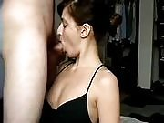 Hot brunette performs hot steamy sex with horny boyfriend, GF sucks dick and gets pounded