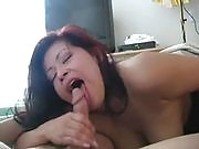 Lovely brunette stunner shows her blowjob skills