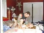 Blonde Girl Gets Fucked by a Tattooed Man on Bed