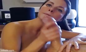 Brunette Fills Her Mouth With a Big Cock and Cream