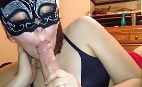 Sexy Girlfriend Gives Head With Mask on
