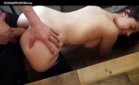Creampied ass in the kitchen