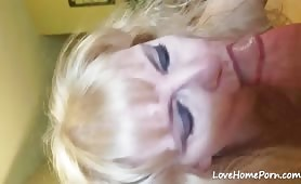 Guy Wanks His Wiener and Cums on a Mature's Face