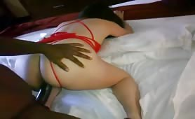 Taking Black Dong With Red Panties on