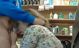 Blonde Blows Cock in a Store