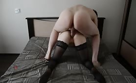 Brunette in Stockings Gets Ass Drilled