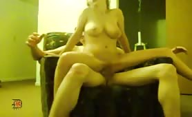 Blonde Girlfriend Rides Dick on a Sofa
