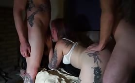 Nasty whore wife fucking hubby plus 2 friends