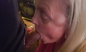 Blonde Granny Feeds on Goo
