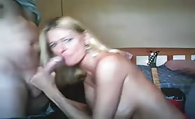 Naked Blonde Facialized After Giving Head